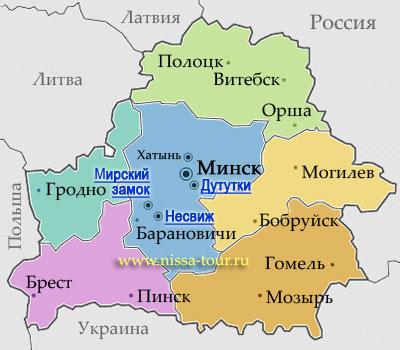 Белоруссия карта туристическая