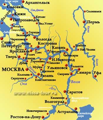 Карта речных круизов по рекам россии