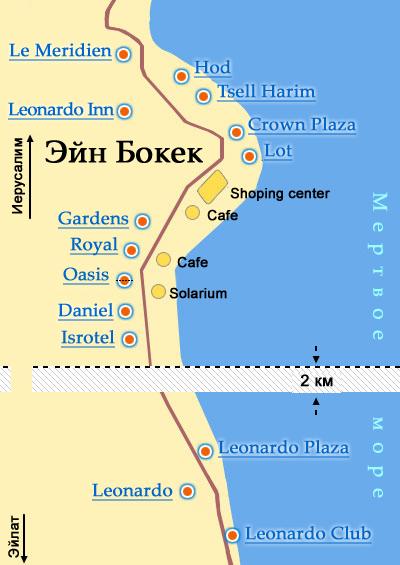 моря: расположение отелей