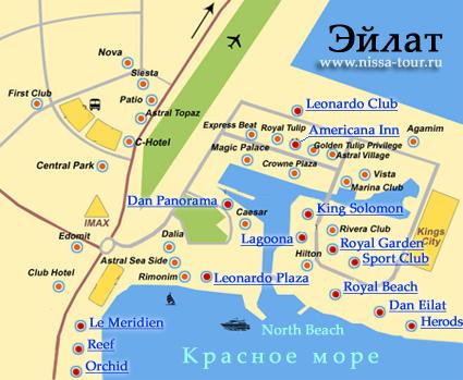Эйлат карта схема с