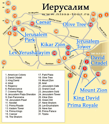 Иерусалим карта схема с