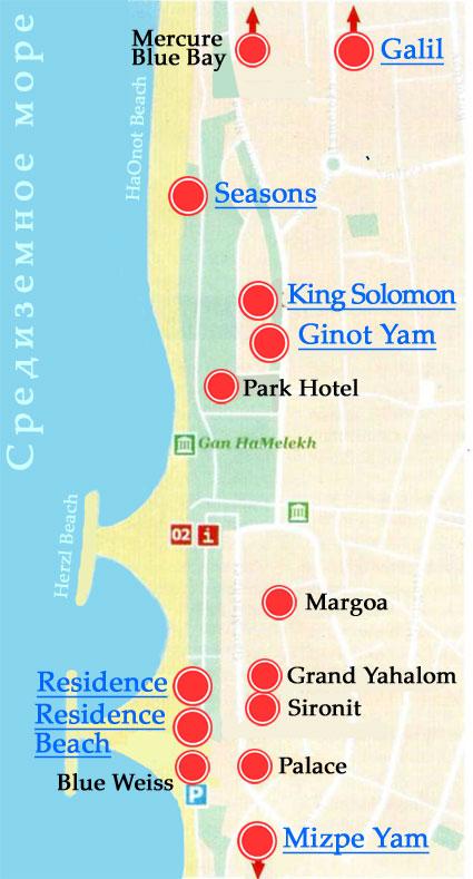 Нетания карта курорта с расположением