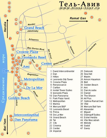 Тель-Авив карта схема с