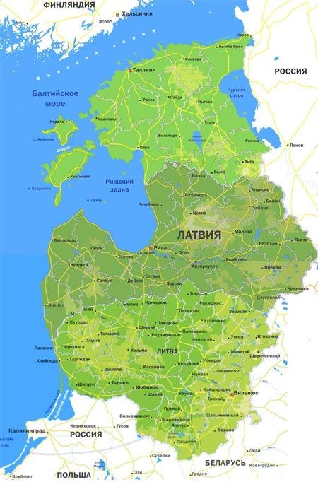 страны балтии карта