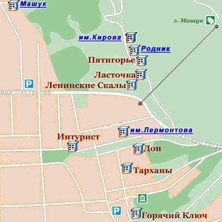 Карта пятигорска с расположением
