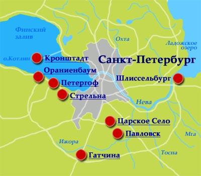 Карта санкт петербурга и пригородов